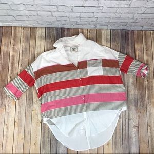 Holding Horses Striped Button Up Shirt Oversized
